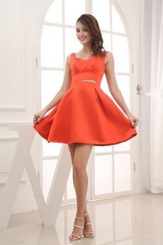 Αμάνικο Σατέν Κοντό άτυπος Φυσικό Γραμμή Α Μπάλα φορέματα