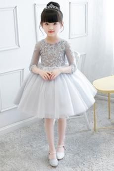 Κόσμημα Μέχρι το Γόνατο 4 Μήκος Μανικιού Λουλούδι κορίτσι φορέματα