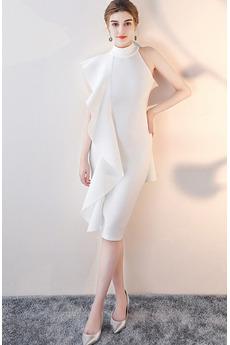 Βραδινά φορέματα Ανάποδο Τρίγωνο Θήκη άτυπος Μέχρι το Γόνατο Υψηλός λαιμός