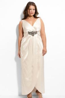 Βαθιά v-λαιμός Άνοιξη Αυτοκρατορία Ταφτάς Βραδινά φορέματα