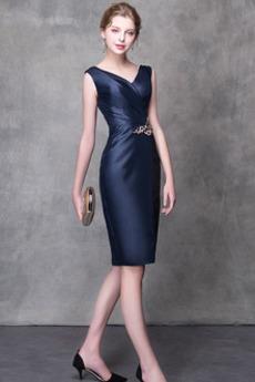 Άνοιξη Λαιμόκοψη V Πολυτελές Σατέν Ντραπέ Βραδινά φορέματα