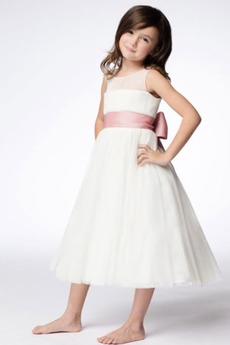 Τόξο Πριγκίπισσα Τονισμένα τόξο Λευκό Το μήκος τσάι Λουλούδι κορίτσι φορέματα