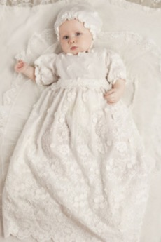 Υψηλή καλύπτονται Λουλούδι Φυσικό Φουσκωτό Φόρεμα Βάπτισης