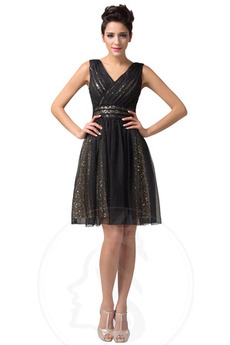 Γραμμή Α Λαιμόκοψη V δραματική Μέχρι το Γόνατο Μπάλα φορέματα