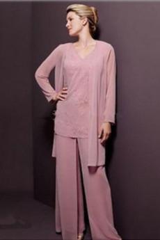 Λαιμόκοψη V Σιφόν Διακοσμητικά Επιράμματα Παντελόνι κοστούμι φόρεμα