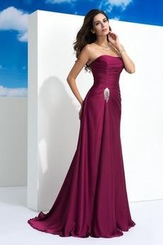 Γραμμή Α Στράπλες Φυσικό Φερμουάρ επάνω Καλοκαίρι Βραδινά φορέματα