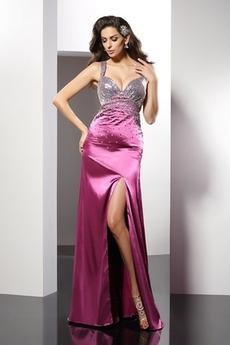 Ελαστικό σατέν Χάνει σικ Γραμμή Α Φυσικό Μπάλα φορέματα