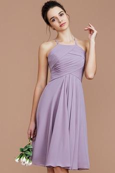 απλός Φυσικό Χάνει Μίνι Καλοκαίρι Σιφόν Παράνυμφος φορέματα