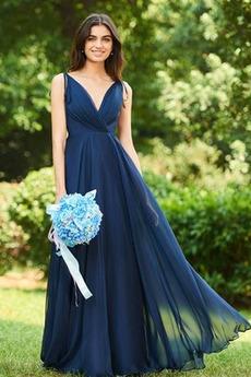 Βαθιά v-λαιμός Γραμμή Α Ντραπέ Χάνει Αμάνικο Παράνυμφος φορέματα