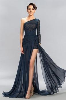 Ασύμμετρα μανίκια Δαντέλα Τα μέσα πλάτη Μακρύ Βραδινά φορέματα