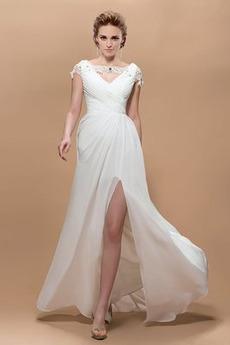 Φυσικό Οι πτυχωμένες μπούστο Γραμμή Α Μήκος πατωμάτων Βραδινά φορέματα