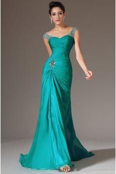 Κρυστάλλινη απλός Χάνει Μήκος πατωμάτων Φερμουάρ επάνω Βραδινά φορέματα