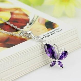Μόδα μοβ ένθετο διαμάντι έντομο ασημένια κολιέ & μενταγιόν - Σελίδα 1