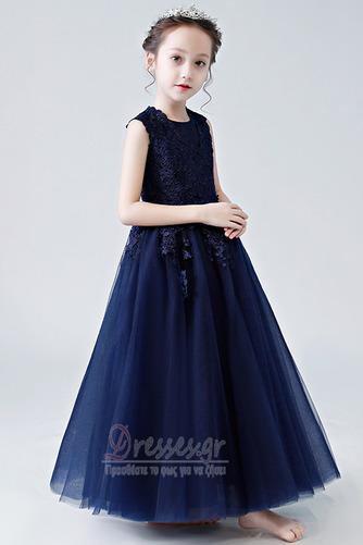 Κομψό Καλοκαίρι Δαντέλα Γραμμή Α Αμάνικο Λουλούδι κορίτσι φορέματα - Σελίδα 4