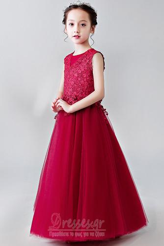 Κομψό Καλοκαίρι Δαντέλα Γραμμή Α Αμάνικο Λουλούδι κορίτσι φορέματα - Σελίδα 7