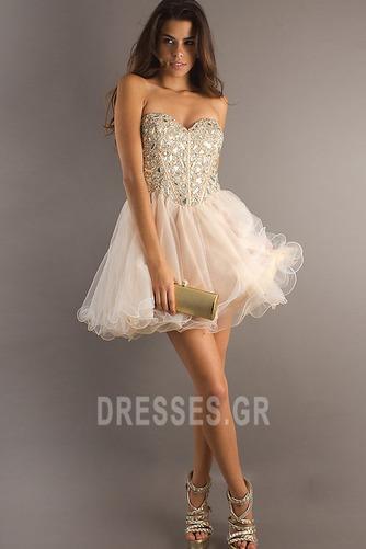 Φόρεμα μπάλα Αμάνικο Πρησμένα Οργάντζα Κόσμημα τονισμένο μπούστο Κοκτέιλ φορέματα - Σελίδα 1