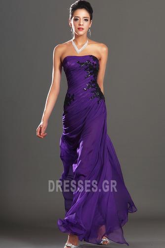 Φυσικό Αμάνικο Σταφύλι Μικροκαμωμένη Σιφόν Βραδινά φορέματα - Σελίδα 3
