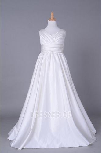 Σατέν Αυτοκρατορία Λευκό Χειμώνας Τραίνο παρεκκλησιών Λουλούδι κορίτσι φορέματα - Σελίδα 1