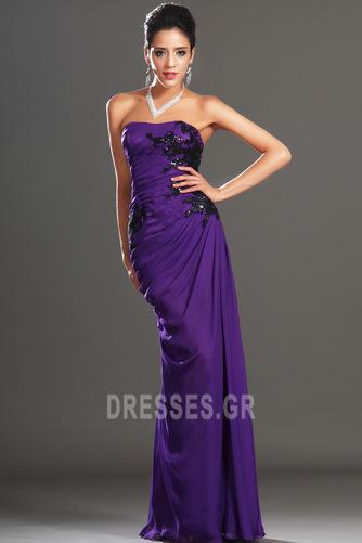 Φυσικό Αμάνικο Σταφύλι Μικροκαμωμένη Σιφόν Βραδινά φορέματα - Σελίδα 4