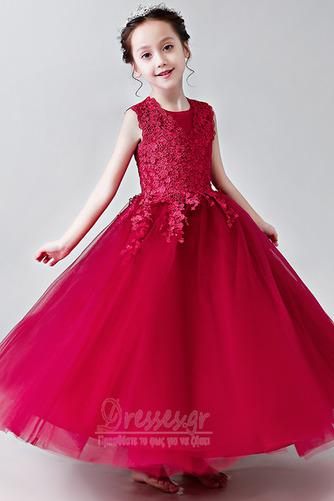 Κομψό Καλοκαίρι Δαντέλα Γραμμή Α Αμάνικο Λουλούδι κορίτσι φορέματα - Σελίδα 6