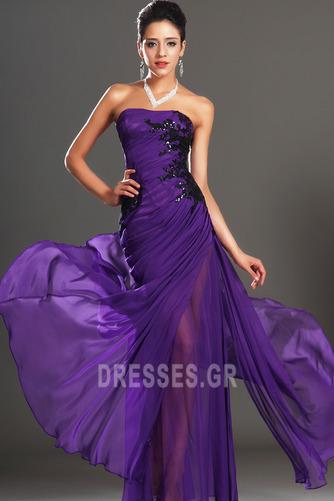 Φυσικό Αμάνικο Σταφύλι Μικροκαμωμένη Σιφόν Βραδινά φορέματα - Σελίδα 2