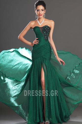 Σιφόν Αμάνικο Λαμπερό Χάντρες Μήκος πατωμάτων Βραδινά φορέματα - Σελίδα 2