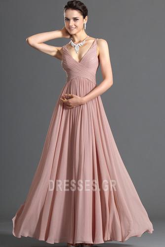 Λαιμόκοψη V Οι πτυχωμένες μπούστο Σιφόν Μέση αυτοκρατορία Βραδινά φορέματα - Σελίδα 2