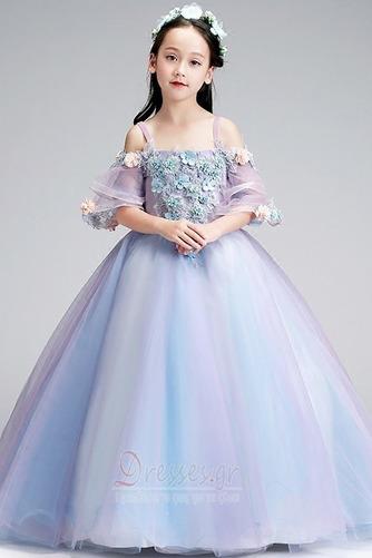 Τετράγωνο Τονισμένα ροζέτα Χαλαρά μανίκια Λουλούδι κορίτσι φορέματα - Σελίδα 3