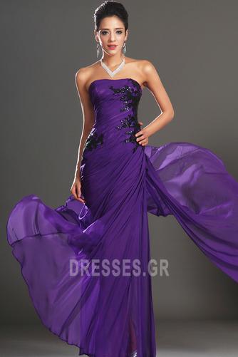 Φυσικό Αμάνικο Σταφύλι Μικροκαμωμένη Σιφόν Βραδινά φορέματα - Σελίδα 1