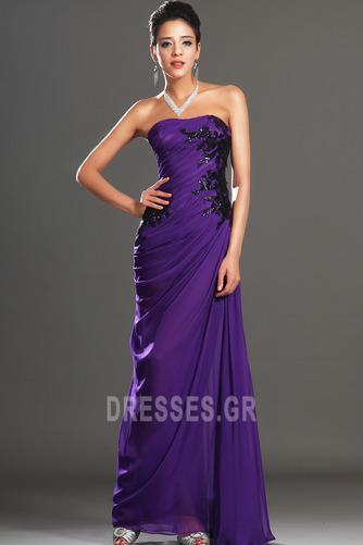 Φυσικό Αμάνικο Σταφύλι Μικροκαμωμένη Σιφόν Βραδινά φορέματα - Σελίδα 5