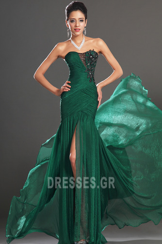 Σιφόν Αμάνικο Λαμπερό Χάντρες Μήκος πατωμάτων Βραδινά φορέματα - Σελίδα 3