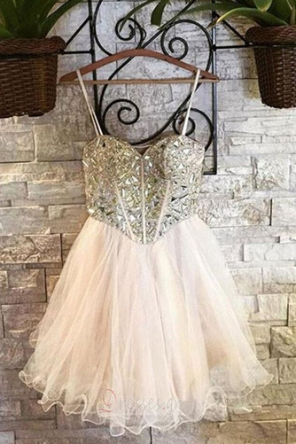 Φόρεμα μπάλα Αμάνικο Πρησμένα Οργάντζα Κόσμημα τονισμένο μπούστο Κοκτέιλ φορέματα - Σελίδα 4