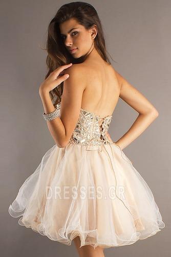 Φόρεμα μπάλα Αμάνικο Πρησμένα Οργάντζα Κόσμημα τονισμένο μπούστο Κοκτέιλ φορέματα - Σελίδα 3