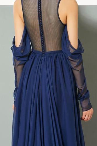 Σιφόν Αχλάδι Μήκος πατωμάτων κούνια Μακρύ Μανίκι Βραδινά φορέματα - Σελίδα 5