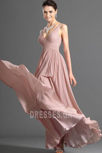 Λαιμόκοψη V Οι πτυχωμένες μπούστο Σιφόν Μέση αυτοκρατορία Βραδινά φορέματα - Σελίδα 5