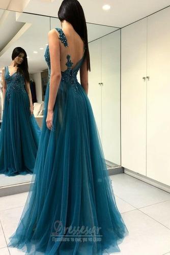 Αμάνικο Λαιμόκοψη V Μπροστινό Σκίσιμο Δαντέλα Μπάλα φορέματα - Σελίδα 2