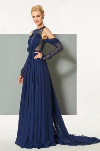 Σιφόν Αχλάδι Μήκος πατωμάτων κούνια Μακρύ Μανίκι Βραδινά φορέματα - Σελίδα 3