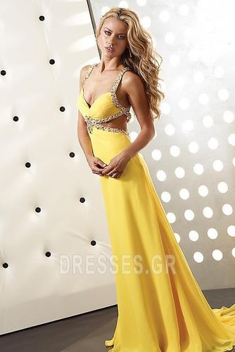 Φυσικό Οι πτυχωμένες μπούστο Κίτρινο Κρυστάλλινη Μπάλα φορέματα - Σελίδα 1