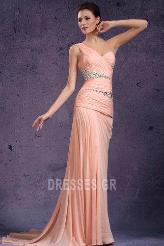 Πλισέ Τα μέσα πλάτη Φθινόπωρο Σιφόν Ένας Ώμος Βραδινά φορέματα - Σελίδα 4