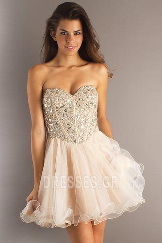 Φόρεμα μπάλα Αμάνικο Πρησμένα Οργάντζα Κόσμημα τονισμένο μπούστο Κοκτέιλ φορέματα - Σελίδα 2