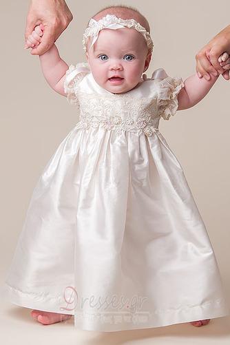 915249ae1fe Σατέν Επίσημη Κοντομάνικο Πλισέ Πριγκίπισσα Φόρεμα Βάπτισης - Σελίδα 1 ...