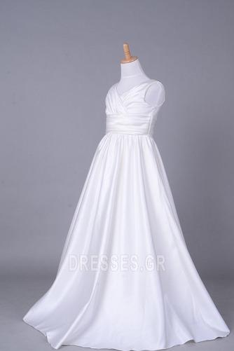 Σατέν Αυτοκρατορία Λευκό Χειμώνας Τραίνο παρεκκλησιών Λουλούδι κορίτσι φορέματα - Σελίδα 2
