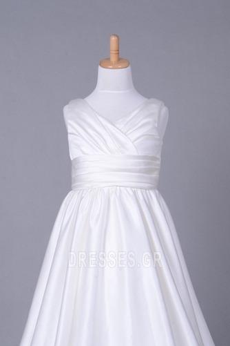 Σατέν Αυτοκρατορία Λευκό Χειμώνας Τραίνο παρεκκλησιών Λουλούδι κορίτσι φορέματα - Σελίδα 4