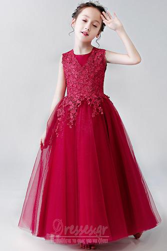 Κομψό Καλοκαίρι Δαντέλα Γραμμή Α Αμάνικο Λουλούδι κορίτσι φορέματα - Σελίδα 5