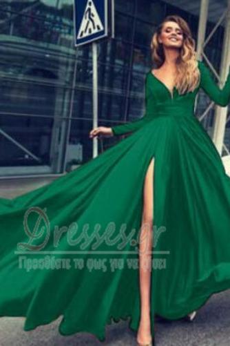Μπροστινό Σκίσιμο Κοντομάνικο Βαθιά v-λαιμός Βραδινά φορέματα - Σελίδα 5