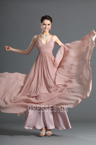 Λαιμόκοψη V Οι πτυχωμένες μπούστο Σιφόν Μέση αυτοκρατορία Βραδινά φορέματα - Σελίδα 4