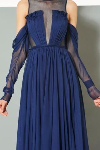 Σιφόν Αχλάδι Μήκος πατωμάτων κούνια Μακρύ Μανίκι Βραδινά φορέματα - Σελίδα 4