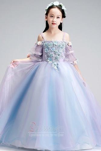 Τετράγωνο Τονισμένα ροζέτα Χαλαρά μανίκια Λουλούδι κορίτσι φορέματα - Σελίδα 1