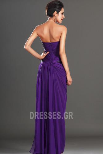 Φυσικό Αμάνικο Σταφύλι Μικροκαμωμένη Σιφόν Βραδινά φορέματα - Σελίδα 7