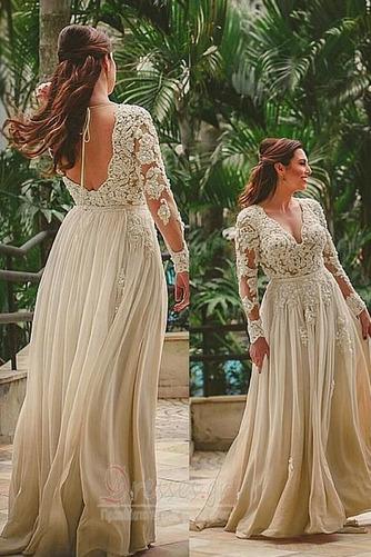 Δαντέλα επικάλυψης Λαιμόκοψη V Γραμμή Α Τούλι Βραδινά φορέματα - Σελίδα 1
